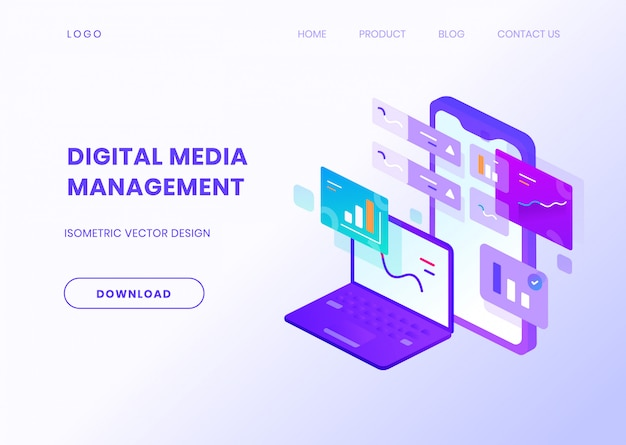 Digital media management isometric illustration Premium Vector