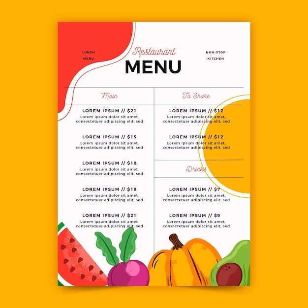 Цифровое меню для ресторана в вертикальном формате Бесплатные векторы