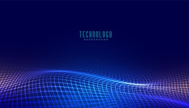Digital mesh wave technology concept background design Free Vector