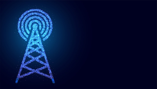 Digital mobile telecommunication tower network connection background Free Vector