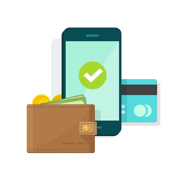 Digital mobile wallet or payment on cellphone or mobile phone vector illustration icon flat cartoon Premium Vector