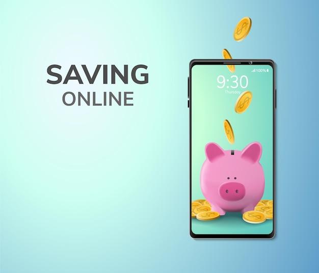 Risparmio online di denaro digitale o concetto di deposito spazio vuoto sul telefono Vettore gratuito