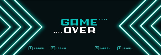 Digital neon game over banner Free Vector