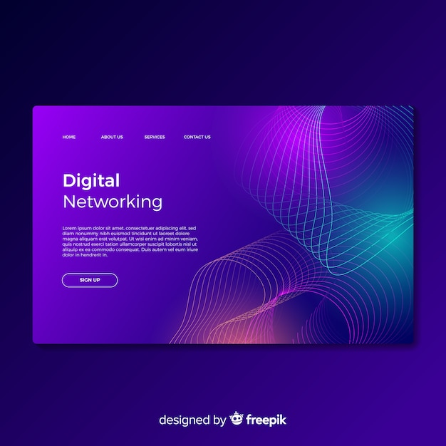 Digital networking landing page Free Vector