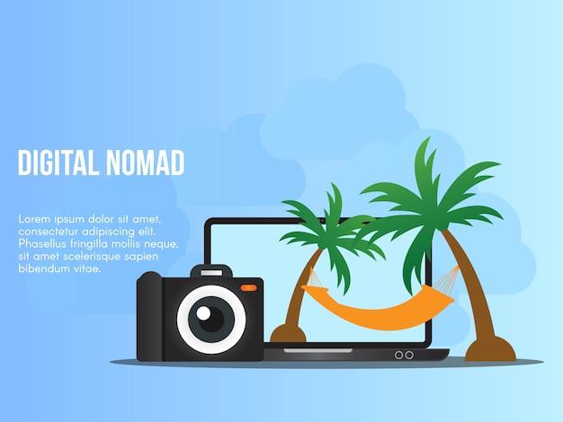 Digital nomad concept illustration vector design template Premium Vector