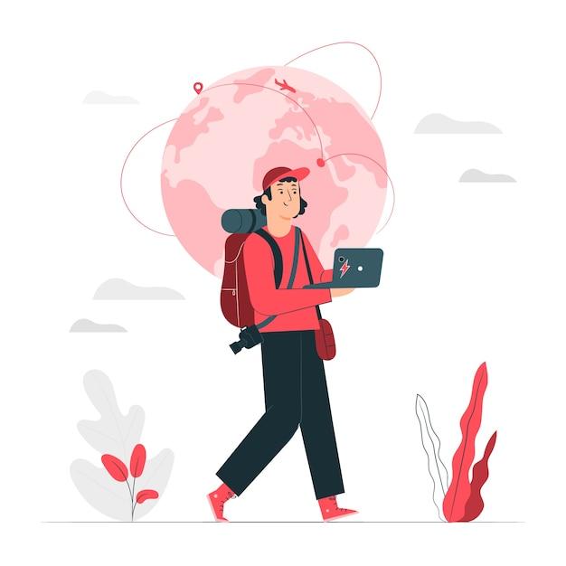 Digital nomad concept illustration Free Vector