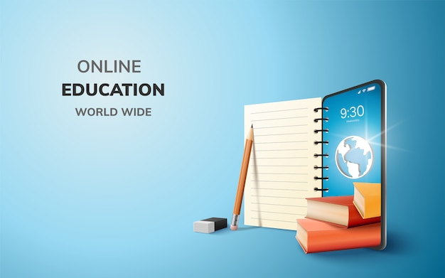 Digital online education application learning world wide on phone. Premium Vector