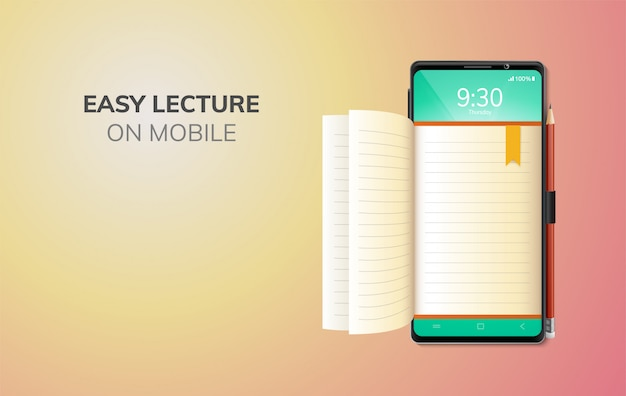 Digital online education internet and blank space on phone, mobile website background. social distance concept. decor by lecture book mobile.  illustration Premium Vector