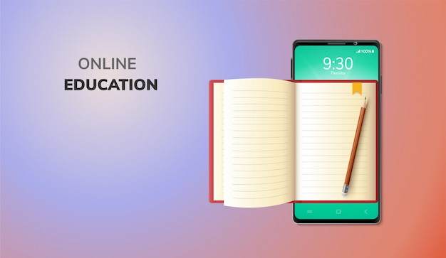 Digital online education internet and blank space on phone, mobile website background. social distance concept. decor by lecture book pencil.  illustration Premium Vector