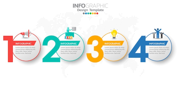 Digital online marketing infographic steps template for business contents. Premium Vector