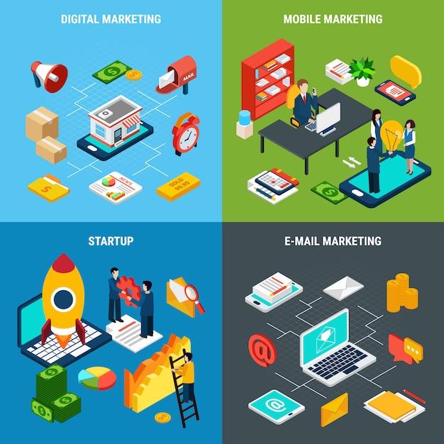 Set di composizione per strumenti di marketing digitale online e mobile e start-up aziendali Vettore gratuito