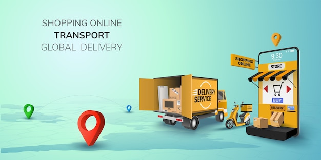 Digital online shop global logistic truck van scooter black yellow delivery on phone, mobile website
