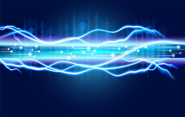 Digital optical fiber technology abstracts with the spark power of high voltage electricity Premium Vector