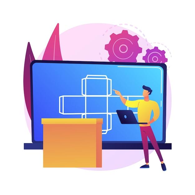 デジタルパッケージの抽象的な概念図。デジタルテクノロジー、3dソフトウェア、arラベル、マーケティングツール、顧客を引き付ける、拡張現実、注文をカスタマイズする 無料ベクター