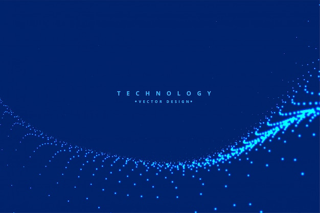 Digital particle wave technology background Free Vector
