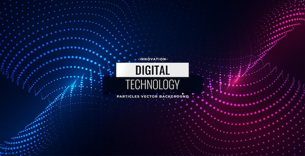 Digital particles flowing background design Free Vector