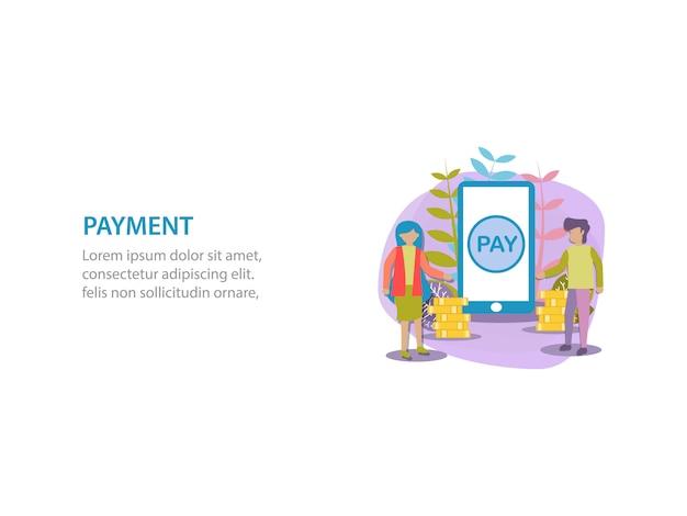 Digital payment background design Premium Vector