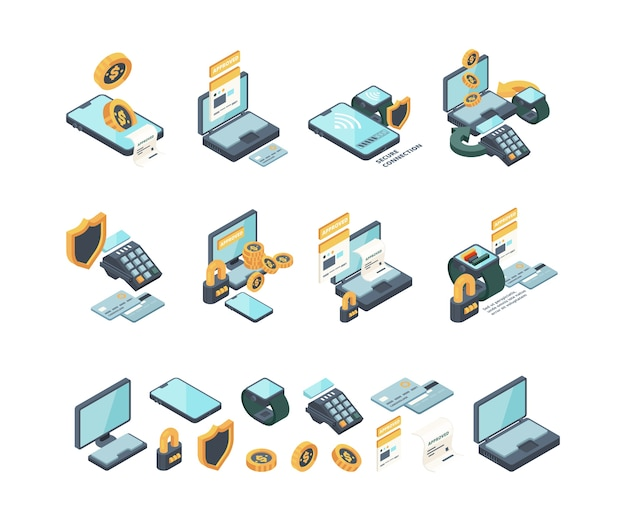 Цифровая оплата. интернет-банкинг мобильный проверка счетов электронные карты мобильности кошельки вектор изометрической коллекции. иллюстрация электронных цифровых мобильных платежей Premium векторы