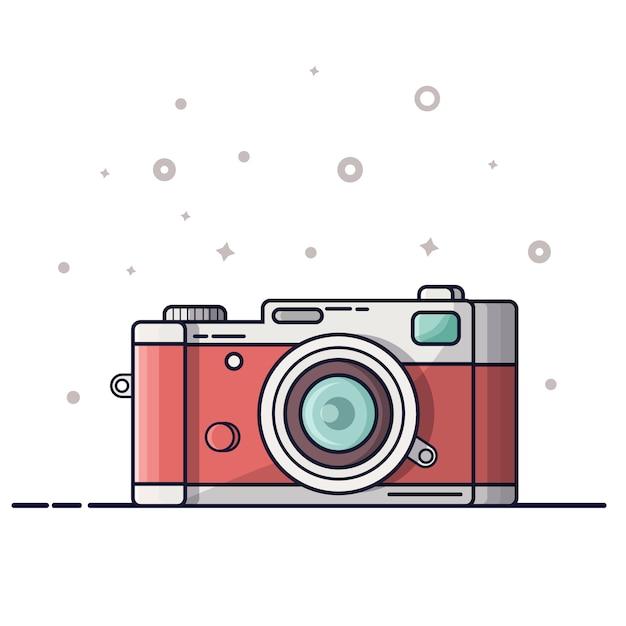 Digital photography icon, logo. photo camera  on white background. Premium Vector