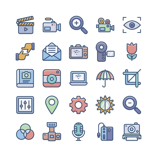 Digital photography icons pack Premium Vector