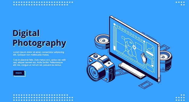 Digital photography isometric landing page Free Vector