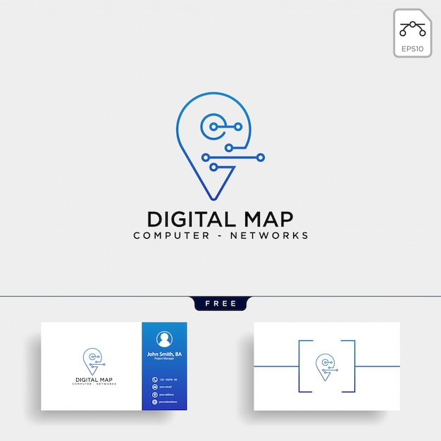 Digital pin map line logo template Premium Vector