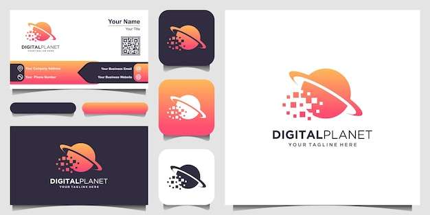 Digital planet logo template. pixel combined with planet. Premium Vector