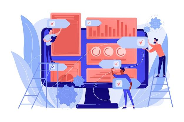 디지털 홍보 대행사는 온라인 인지도를 높입니다. pr 전략, 자연스러운 링크 획득 및 도메인 권위, 브랜드 인지도 및 키워드 순위 개념. 분홍빛이 도는 산호 bluevector 고립 된 그림 무료 벡터