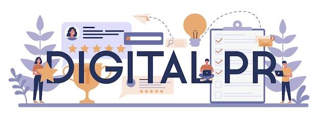 Digital pr typographic header concept Premium Vector