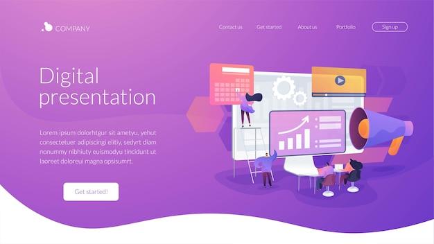 Modello di pagina di destinazione della presentazione digitale Vettore gratuito