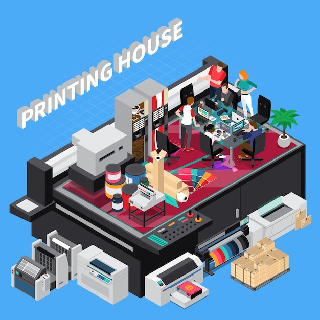 Digital print house with latest technology ers team providing solutions for customers projects isometric composition Free Vector