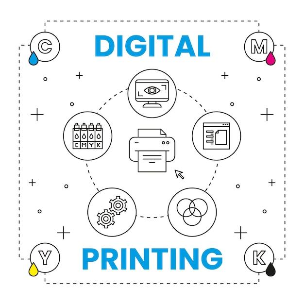 Concetto di stampa digitale con elementi Vettore gratuito