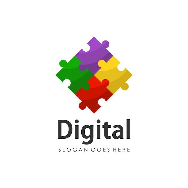 Digital puzzle logo design template Premium Vector