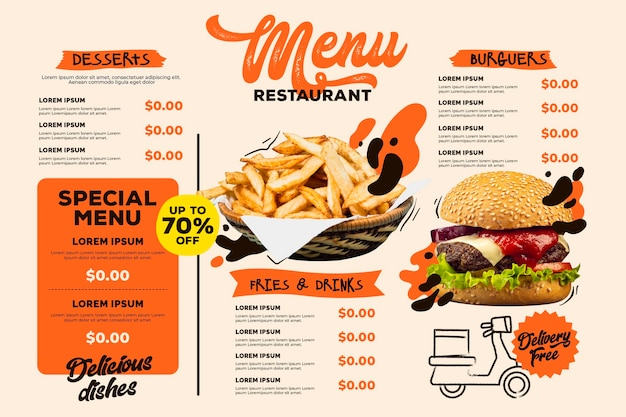 Digital restaurant menu horizontal format template with burger and fries Free Vector