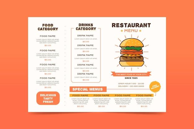 Digital restaurant menu in horizontal format with burger Premium Vector