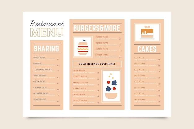 Digital restaurant menu horizontal format Free Vector
