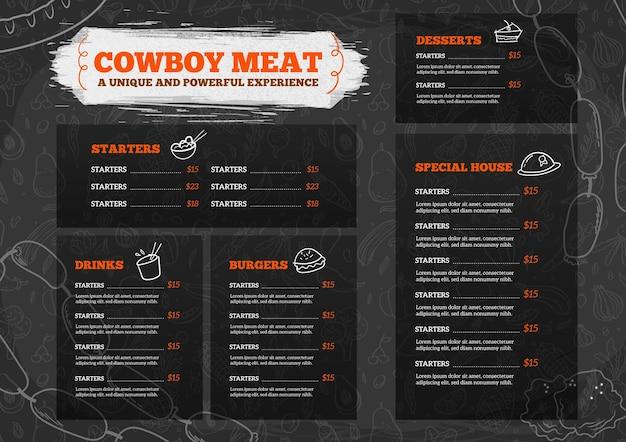 Digital restaurant menu horizontal format Premium Vector
