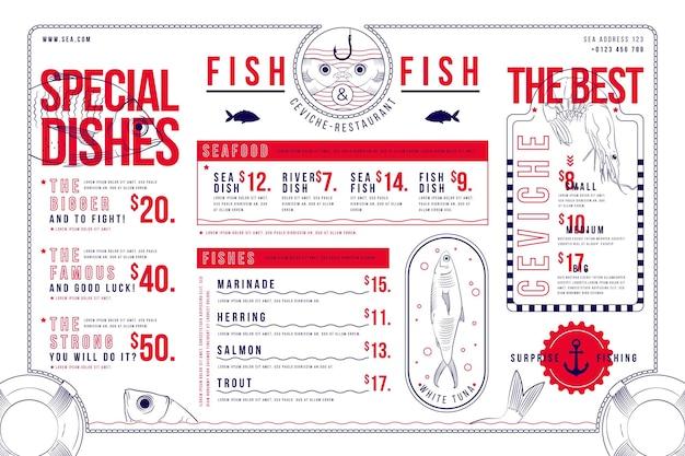 Горизонтальный формат цифрового меню ресторана Premium векторы