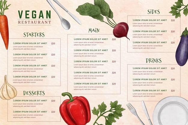 Цифровое меню ресторана в горизонтальном формате с иллюстрацией ингредиентов Бесплатные векторы