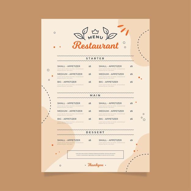 デジタルレストランメニューテンプレートデザイン Premiumベクター