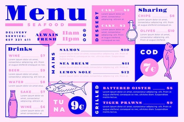Шаблон меню цифрового ресторана с вкусными блюдами в горизонтальном формате Бесплатные векторы