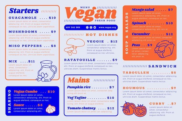 Шаблон меню цифрового ресторана с вкусными блюдами Бесплатные векторы