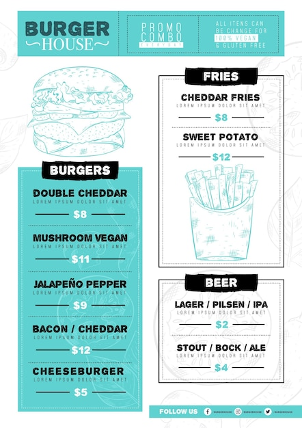 Шаблон меню цифрового ресторана с иллюстрированной едой Бесплатные векторы