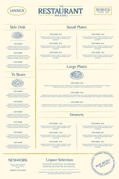 Шаблон меню цифрового ресторана Premium векторы