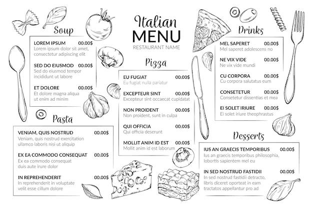 Шаблон меню цифрового ресторана Бесплатные векторы