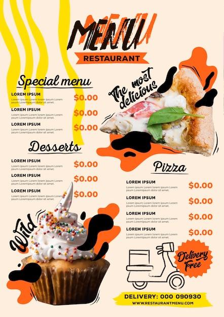ピザとカップケーキのデジタルレストランメニュー縦フォーマットテンプレート 無料ベクター