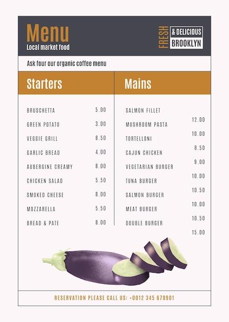 Вертикальный формат цифрового меню ресторана Бесплатные векторы