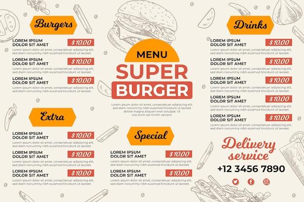 Digital restaurant menu Premium Vector