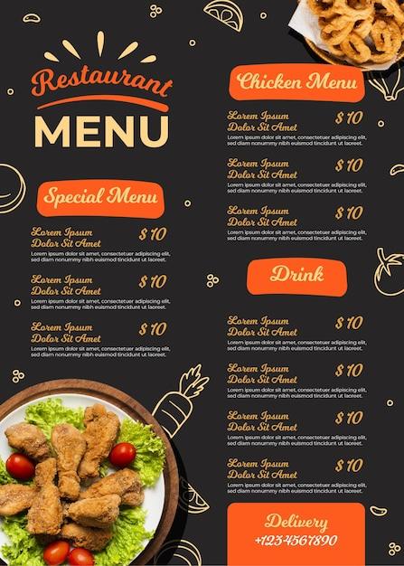 Menu ristorante digitale Vettore gratuito