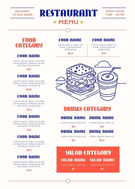 Цифровое меню ресторана Бесплатные векторы